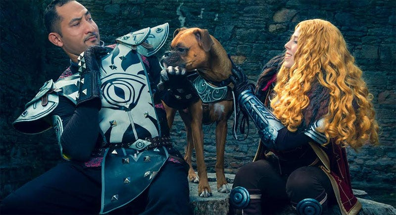 Illustration for article titled Dragon Age Cosplay Is Better With Dogs