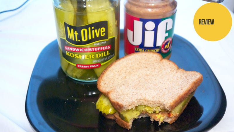 Illustration for article titled Peanut Butter and Pickle Sandwich: The Snacktaku Review