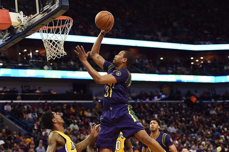 Bryce Dejean-Jones drives against the Lakers in February. Via Getty.