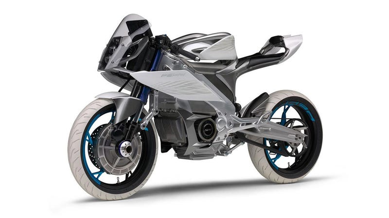 This yamaha electric motorcycle concept is two wheel drive for Electric yamaha motorcycle