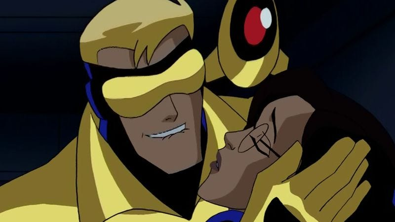 Booster Gold, Skeets, Dr. Tracy Simmons (Image: DC Animation)