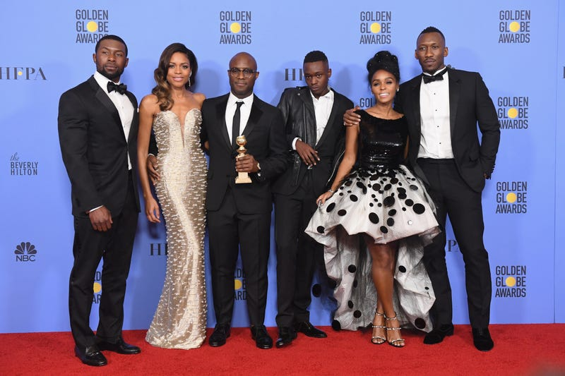Actors Trevante Rhodes and Naomie Harris, director Barry Jenkins, and actors Ashton Sanders, Janelle Monáe and Mahershala Ali of Moonlight pose in the press room during the 74th Annual Golden Globe Awards at the Beverly Hilton Hotel in California  on Jan. 8, 2017. (Kevin Winter/Getty Images)