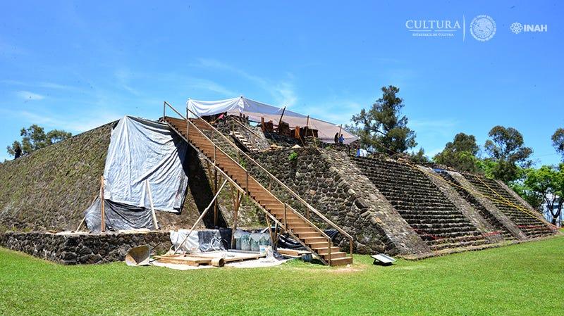 The Teopanzolco pyramid.
