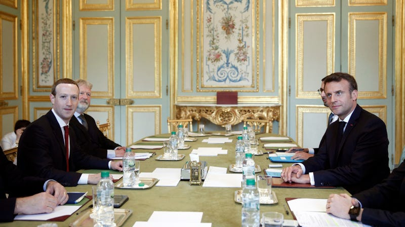 Marky Z and French President Emmanuel Macron talking about hate speech last month at the Elysee Palace.
