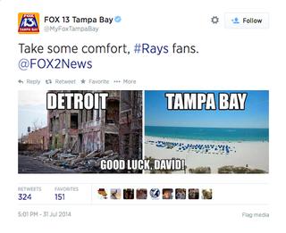 Illustration for article titled Tampa Bay Station Makes Fun Of Detroit; Detroit Station Burns Them Back