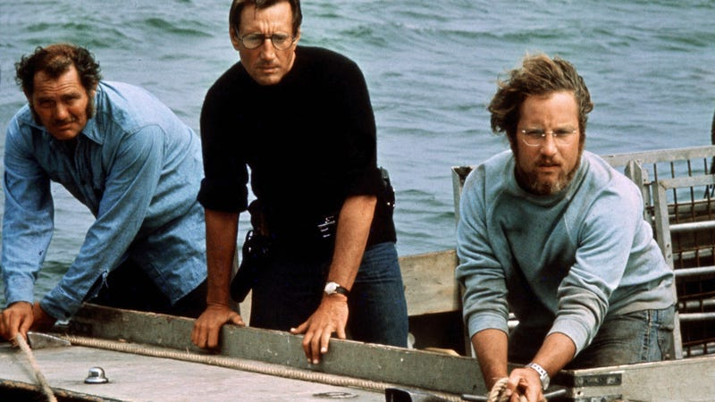 Robert Shaw, Roy Scheider, and Richard Dreyfuss in Jaws. Now, imagine this scene with a CGI shark.