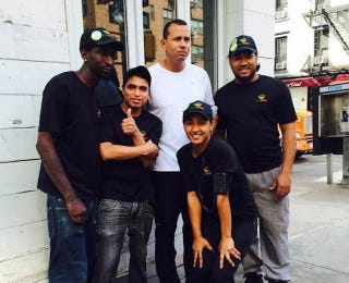 Illustration for article titled A-Rod Looks Thrilled To Be In This Group Photo