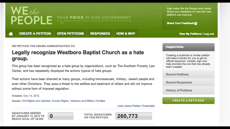 Illustration for article titled Petition to Recognize Westboro Baptist Church as Hate Group Is Most Popular in White House History