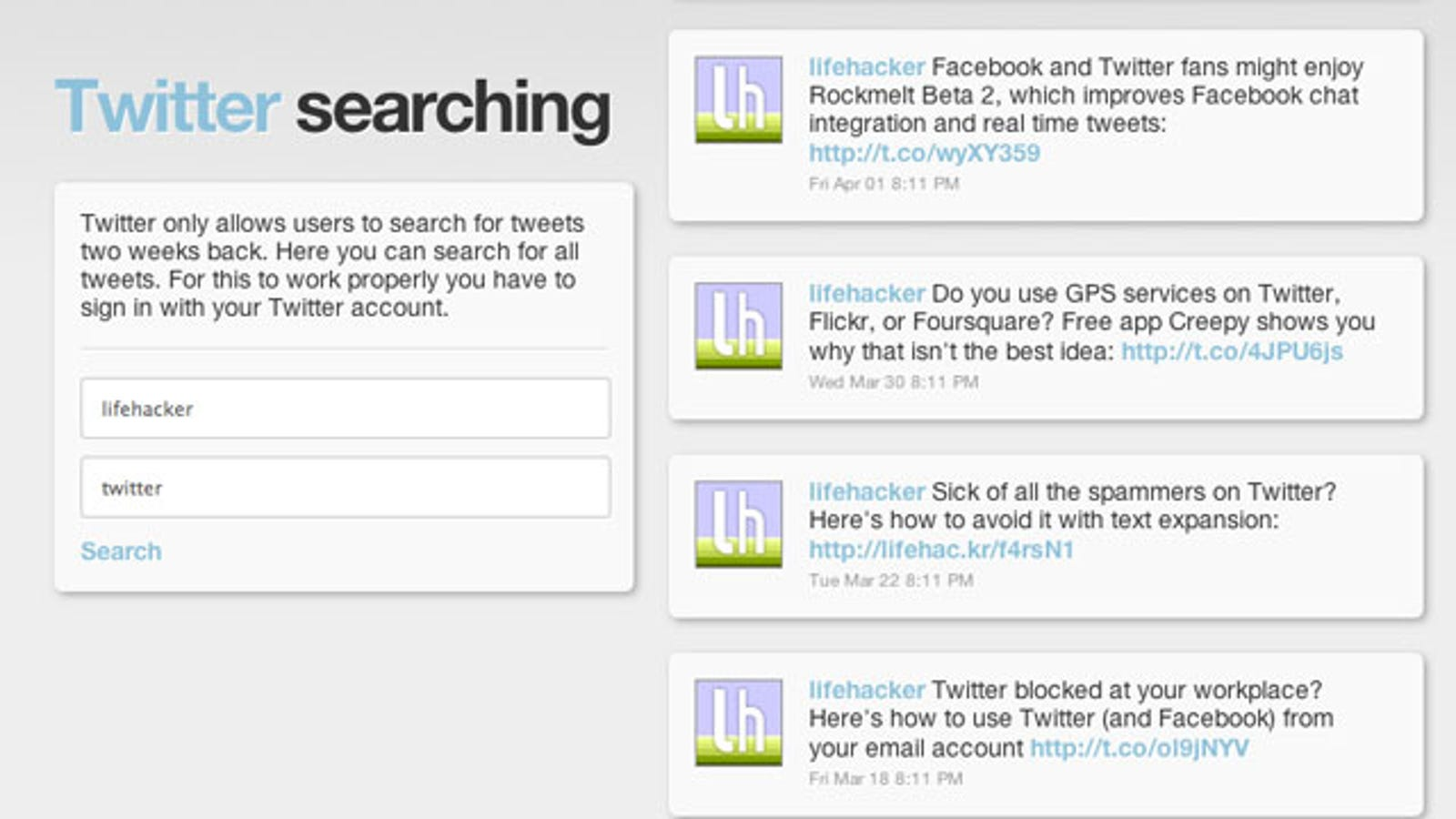 Socialsearching info Finds Tweets and Facebook Posts From