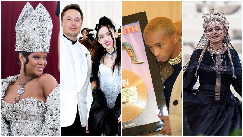 L to R: Rihanna, Elon Musk and Grimes, Jaden Smith, Madonna