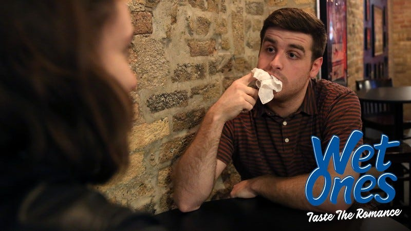 A man on a date eating a Wet Ones wipe.