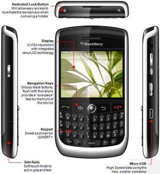 Illustration for article titled Leaked Marketing Photos for BlackBerry Javelin Show 512mhz Processor, Lens Inside LCD?