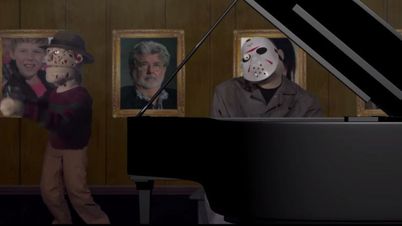 """Illustration for article titled Puppet versions of Freddy, Jason, and Ghostface serenade you with """"Dream A Little Dream"""""""