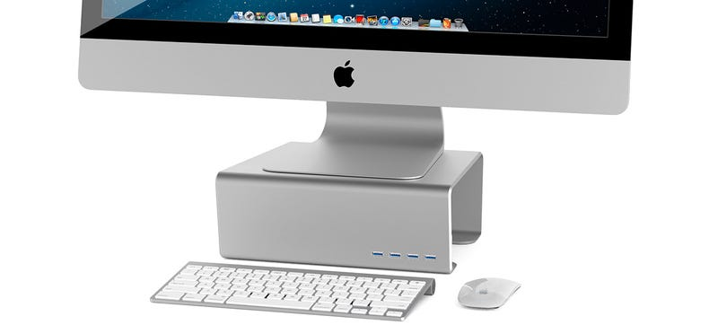 Illustration for article titled This Shelf Puts Your iMac at Eye Level and Its USB Ports in Easy Reach