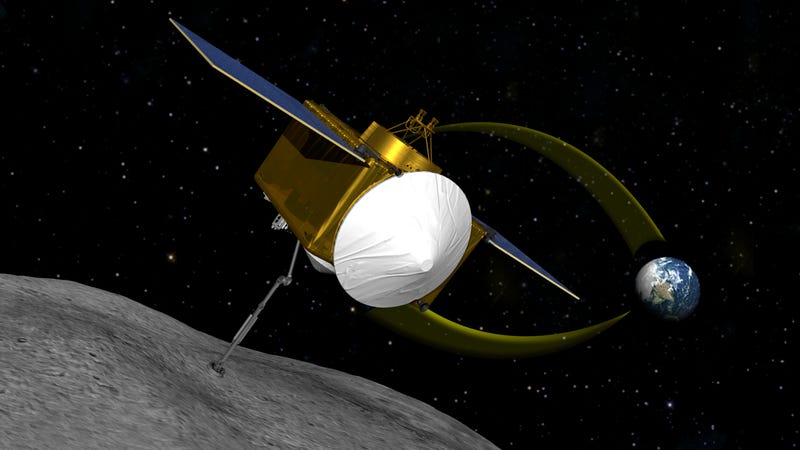 Artist's sketch of OSIRIS-REx spacecraft collecting a sample from Bennu