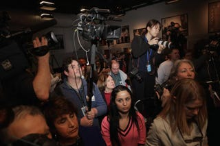 News reporters and photographers covering Republican presidential candidate Sen. Marco Rubio of Florida at a campaign town hall event at St. Anselm College in Manchester, N.H., on Feb. 4, 2016.Chip Somodevilla/Getty Images
