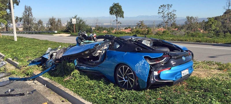 Here's What Happens When A Cement Truck Falls On A BMW i8