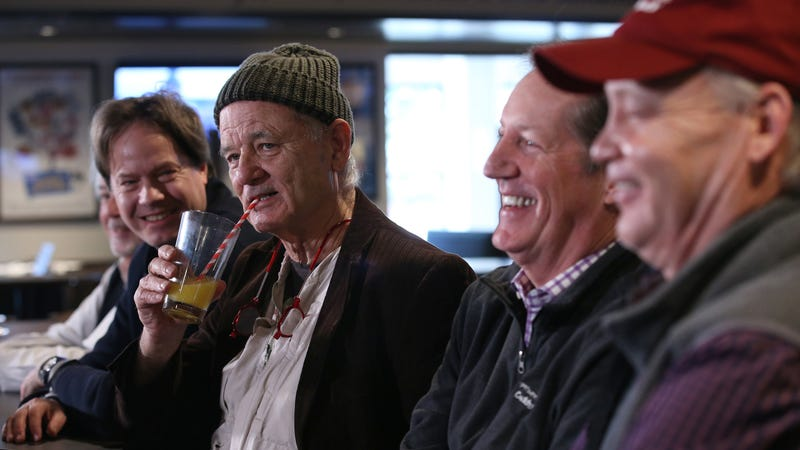 Bill Murray talking about his new restaurant's paper straws yesterday in Rosemont, Illinois.