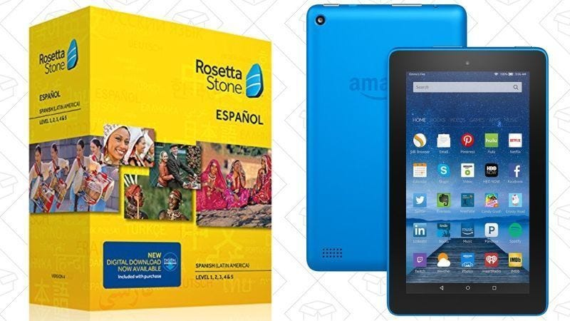 Rosetta Stone Niveles 1-5 + Fire Tablet de 16GB gratis, $140