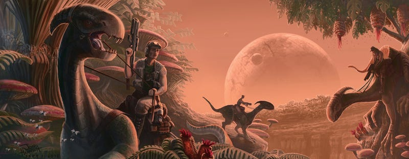 Illustration for article titled Dinosaurs Were The Ideal Mounts For Navigating The Jungle Planet