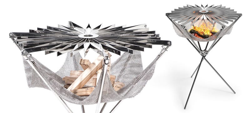 Illustration for article titled This Folding Origami Grill Has a Metal Mesh Hammock For Firewood