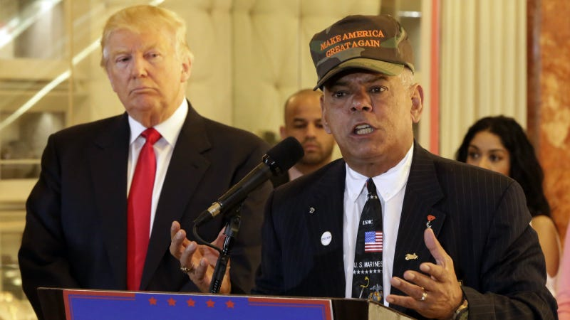 Trump listens as Al Baldasaro speaks during a news conference in New York, Tuesday, May 31, 2016. Photo via AP