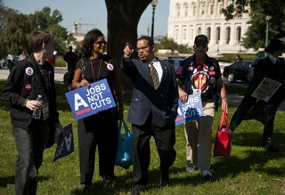 Rep. Keith Ellison and activists
