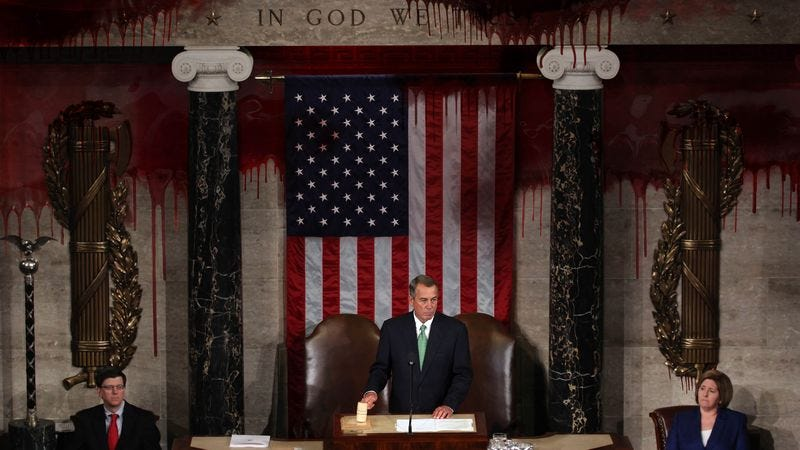 Illustration for article titled Blood Runs Down House Of Representatives Walls As Chamber Itself Selects New Speaker