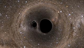 Illustration for article titled Esto es lo que veríamos si chocaran dos agujeros negros