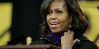 Michelle Obama delivers a commencement address at Bowie State University. (Getty Images)