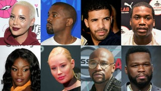 Top row: Amber Rose vs. Kanye West; Drake vs. Meek Mill. Bottom row: Azealia Banks vs. Iggy Azalea; Floyd Mayweather vs. 50 Cent. Top row: Vivien Killilea/Getty Images for Flirt Cosmetics; ANGELA WEISS/AFP/Getty Images; Kevin Winter/Getty Images; Lisa Lake/Getty Images for PUMA. Bottom row: Stuart Wilson/Getty Images; VALERIE MACON/AFP/Getty Images; Frederick M. Brown/Getty Images; Frederick M. Brown/Getty Images.
