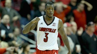Chris Jones of the Louisville Cardinals celebrates during the game against the Ohio State Buckeyes at KFC Yum Center Dec. 2, 2014, in Louisville, Ky.Andy Lyons/Getty Images