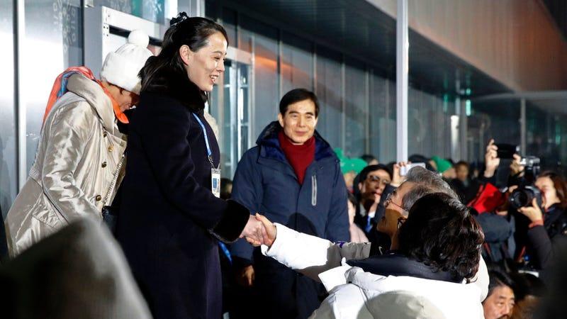 Kim Yo Jong shakes hands with South Korean President Moon Jae-in. Image via AP.