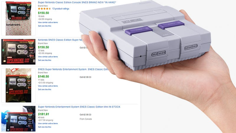 Illustration for article titled SNES Classics Cost Less On Ebay Than NES Classics Did At Launch