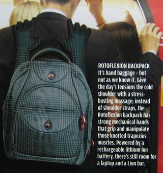 Illustration for article titled Rotoflexion Massaging Backpack Has Robot Hands to Rub You Down
