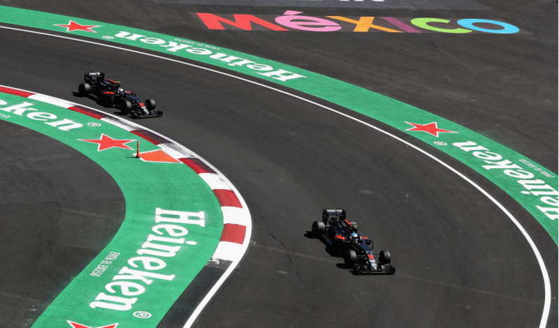 McLaren Honda drivers Fernando Alonso and Jenson Button during qualifying for the Mexican Grand Prix at Autodromo Hermanos Rodriguez on Saturday. Photo credit: Mark Thomspon/Getty Images