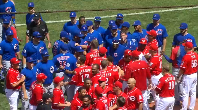 Illustration for article titled Aroldis Chapman Nearly Brains Nate Schierholtz Twice; Benches Clear