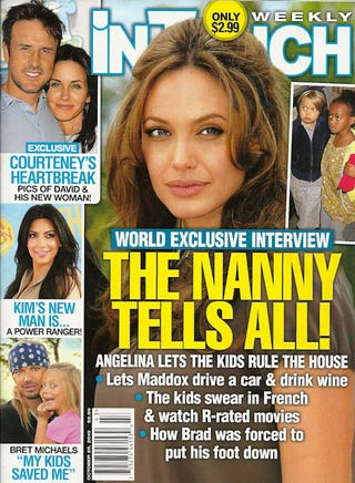Illustration for article titled This Week In Tabloids: The Jolie-Pitt Kids Swear, Drink & Drive