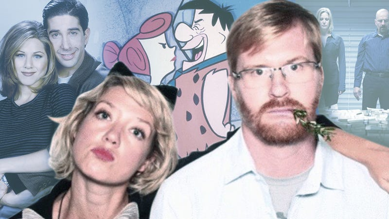 Lauren Cook and Kurt Braunohler, backgrounded by their advisees, Rachel and Ross (Photo: NBC/NBCU Photo Bank/Getty Images), Wilma and Fred (Photo: ABC Photo Archives/ABC/Getty Images), and Skyler and Walter (Photo: Lewis Jacobs/AMC)