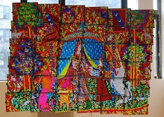 Illustration for article titled Of Course This Giant Lite Brite Tapestry Involves a Unicorn