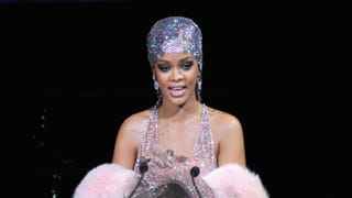 Rihanna speaks onstage at the 2014 CFDA Fashion Awards at Alice Tully Hall, Lincoln Center, on June 2, 2014, in New York City. D Dipasupil/Getty Images