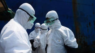 Quarantine officers in August inspect the ship Alpha Friendship, a bulk carrier registered in Greece that carries ore from Port Pepel in Sierra Leone, one of the Ebola-hit countries in West Africa.Stringer/AFP/Getty Images