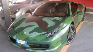 Illustration for article titled Camouflaged Ferrari 458 Does Anything But Blend In