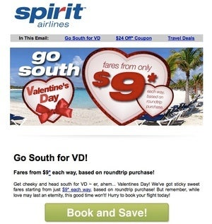 """Illustration for article titled Spirit Airlines urges you to """"Go South for VD!"""""""
