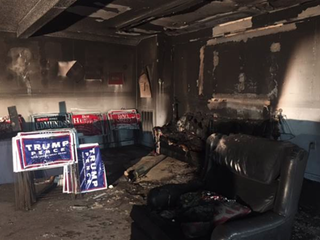 Fire damage at the Republican Party office in Orange County, N.C.NBC News Screenshot