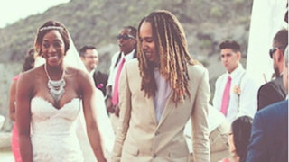 Glory Johnson and Brittney Griner during happier times. The couple is now engaged in a court battle to end their 28-day marriage. Instagram