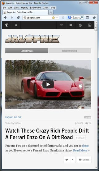 """Illustration for article titled Hey look, I found a way to view Jalopnik in """"Not-so-Ridiculously-Huge"""" Mode"""