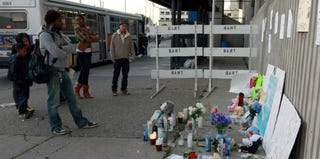A makeshift memorial at the Fruitvale BART Station (Justin Sullivan/Getty Images)