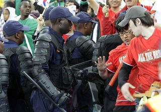 Illustration for article titled Riot Cops Slightly Underdressed For Soccer Match