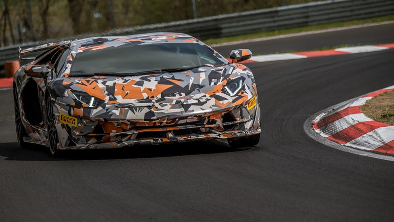 Illustration for article titled Lamborghini Aventador SVJ Smashes Anvil Through Nürburgring Production Car Record; Shatters It Like Glass; Hurls Shards Into Nearby Porsche's Drink